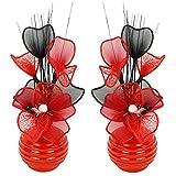 Flourish Creative Florals A juego Par de rojo flores artificiales en jarrón rojo, decoraciones de mesa, accesorios para el hogar, regalos, adornos, altura 32cm