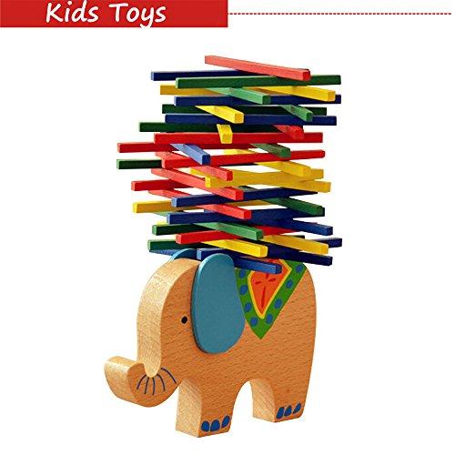 Rubility®Colori Giocattoli per bambini Animals Elephant legno intellgence giocattoli educativi Giocattoli Toy Building Block bilanciamento del gioco regalo per i bambini