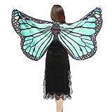 Schmetterling Kostüm, HLHN Schmetterling Flügel Nymphe Pixie Poncho Kostüm Zubehör für Show / Daily / Party (B-Grün, 147 X 70 cm)