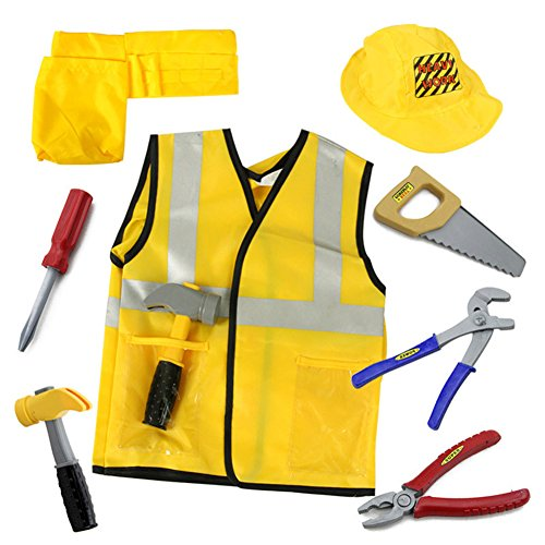 TopTie Engineer Worker Role Play Costumes Set With Tools, 3-8 Years YELLOW-S