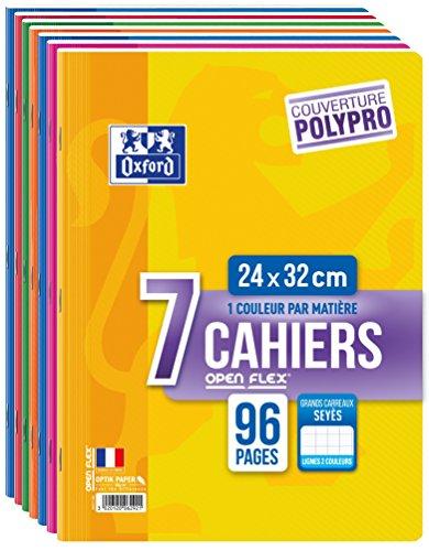 Oxford 400043978 OpenFlex Set mit 7 Heften, 96Seiten, Seyès-Lineatur, 24x32cm, verschiedene Farben
