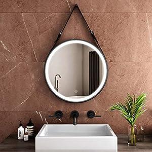 Safeni Badspiegel mit Beleuchtung Rund 60cm Flur Spiegel Badspiegel mit Schwarz Verstellbarer Ledergürtel LED Badezimmerspiegel Wandspiegel mit Touch-Schalter, Kaltweiß