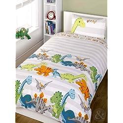 Set de sábanas para niños (algodón), mezcla de algodón, Dinosaurio - beige, blanco, verde, funda de edredón individual