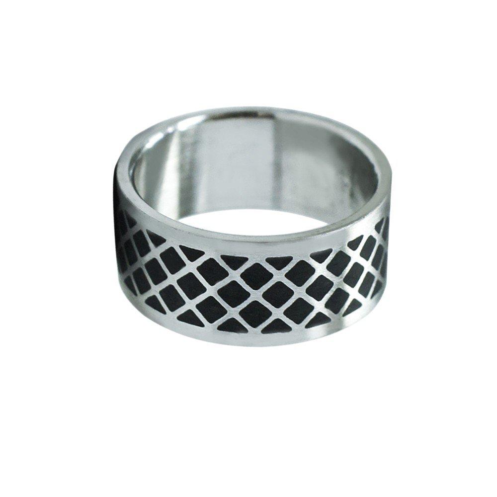 Un anello d'argento in acciaio inox senza tempo tinta unita nero, formato: 22 mm Modello: Modello 1
