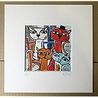 quadro moderno su tela, titolo (l'attesa dei gatti) Riproduzione su tela con retouche, olio su tela, opera certificata di Alessandro Siviglia 15x15 cm con passepartout 23x23 cm foro centrale 12x12 cm
