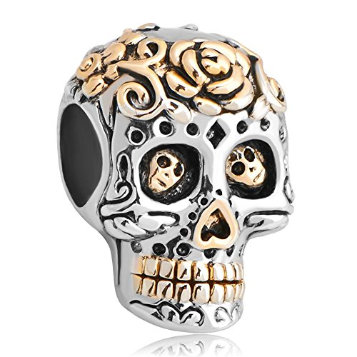 Uniqueen, charm a forma di teschio, in argento sterling, compatibile con braccialetti chamilia e troll e argento, cod. uq_dpc_fass464
