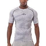 PHIBEE Uomo Formazione Compressione Quick Dry Stampa Manica Corta Spandex Corsa T-shirt Bianco M