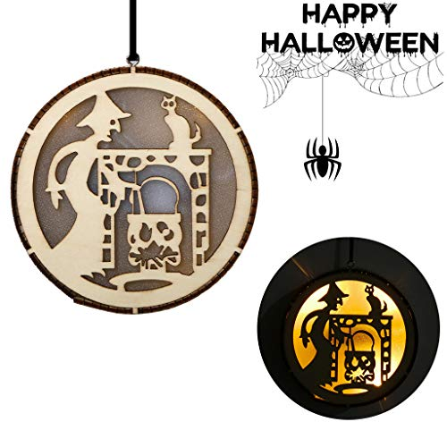 xue binghualoll Hauptdekoration,Licht Fee Anhänger Hexe Halloween Ornamente Hohl Holz LED Black Cat Party