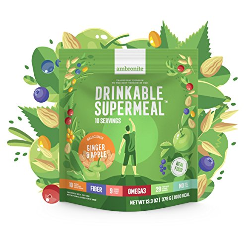 Meal Replacement Nutritional Shake by Ambronite - High Fiber Superfood & Protein Drink for Healthy Weight Loss - All Natural Vegan Smoothie Mix - Quench Hunger - Boost Energy and Focus (Ginger&Apple, 1600kcal) - Tägliche Vitamine, Pflanzliche Vitamine