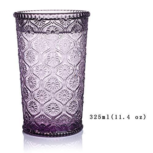 Tumblers Premium Trinken Brille, Retro Europäische Prägen Glas klar Wasserglas Für saft Smoothies Getränk Farbige Trinken Brille Set 2-E 325ml(11.4 oz) - Farbige Weingläser Multi