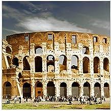 banjado Metall Magnettafel weiß 50x50cm Memoboard mit Motiv Colosseum Rom
