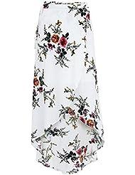 Babysbreath Jupes longues en mousseline de soie à imprimé floral Femme Jupe maxi Jupe asymétrique haute taille Boho