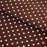 Stoff Meterware, Tupfen Punkte 7 mm, Weiß auf Braun,