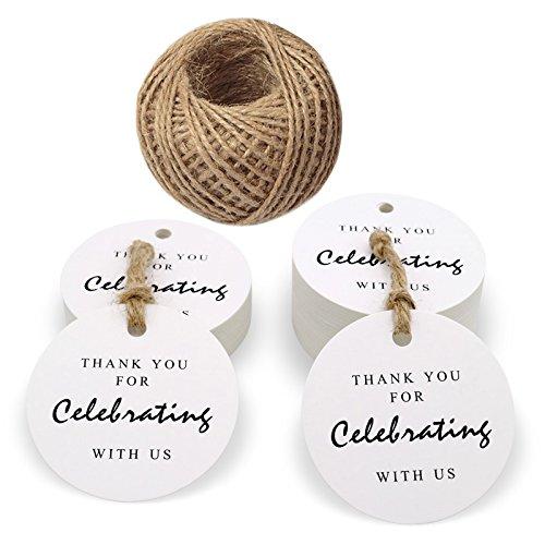 100pezzi carta kraft tag, 'Thank you for Celebrating with US' Round Gift cartellini con 100piedi spago di iuta per Natale, baby shower, wedding favor TAGS 5.5cm/2.1 inch White