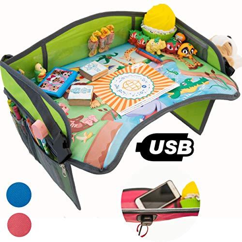 Vassoio Gioco da Viaggio Auto per Bambini 2.0 con porta USB x Tablet,Smartphone Tavolino Sedile Portatile per Disegnare,Intrattenere bimbi in Aereo,Treno,Passeggino,Seggiolino,Parco (Verde)