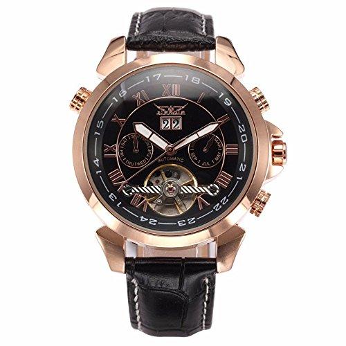 GuTe Montre-bracelet pour homme or rose automatique en acier inoxydable avec calendrier