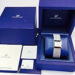 Swarovski watch silver Elis lady reference 1079045 with adjustable leather strap covered in crystals mesh, Swiss made