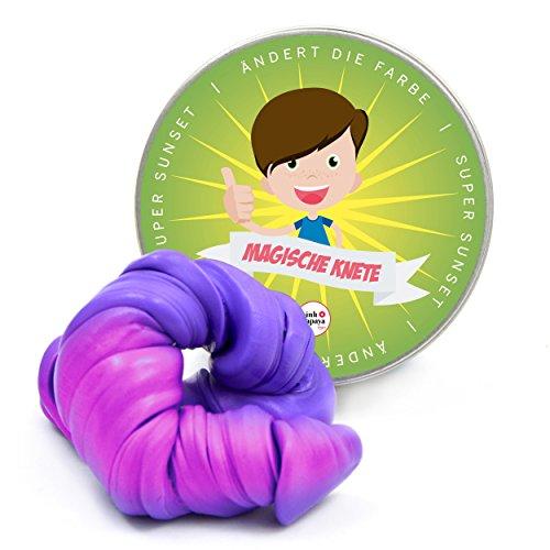 """Pink Papaya Magische Knete - das intelligente Knetgummi, """"Super Sunset"""" ändert die Farbe, Fidget Knetmasse zur Stressreduktion, Farbe: Pink/Lila, erhältlich in vielen tollen Farben und Formen mit lustigen Eigenschaften"""