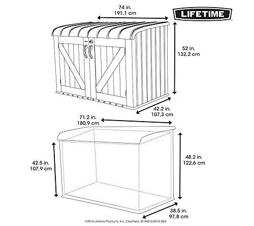Lifetime XXL Kunststoff Mülltonnenbox, Gerätebox, Aufbewahrungsbox // BxTxH 190x108x132cm // Gartengerätebox für Mülltonnen - 7