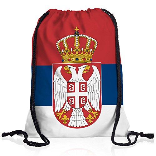 style3 Serbien Turnbeutel Rucksack Tasche Serbia Flagge WM EM Sport Beutel Festival Fahne Uni Schule Bunt
