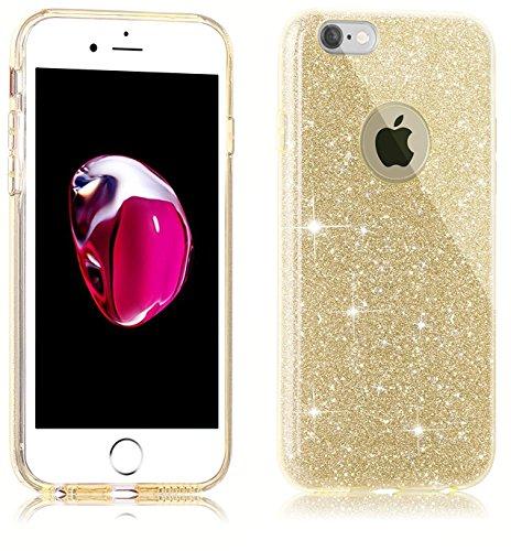 iPhone 7 Plus Hülle,iPhone 7 Plus Silikon Hülle Glitzer Tasche Handyhülle,SainCat iPhone 7 Plus Ultra dünne Silikon Hülle Engel Muster Schutzhülle Stern Bling Glitzer Durchsichtig Schutzhülle Stoßfest Gold