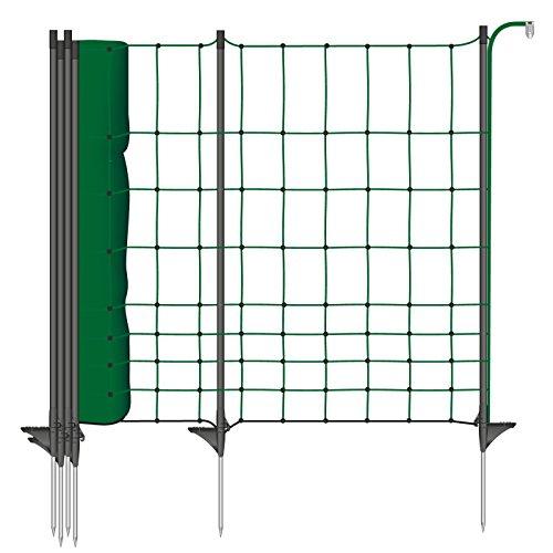 Tiernetz 20m Hasezaun 65cm mit 20 Premium-Fiberglaspfählen – für eine sichere und zuverlässige Einzäunung - Garteneinzäunung Gartenzaun Hasenetz Elektronetz Weidezaun