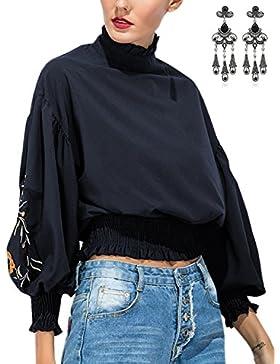 MODETREND Mujer Camiseta Manga Larga con Cuello Alto Blusa Camisa Tops T-shirt