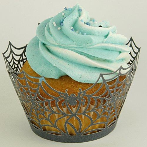24 Stk Cup Cake Wrapper zur Dekoration der Muffinförmchen – Spinnweben (Cupcake Für Deko Halloween Ideen)