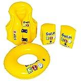 Jilong Swim Kid Set B Schwimmlernhilfe Set mit aufblasbarer Schwimmweste Schwimmflügel Schwimmring Schwimmhilfe Kit Nach EN13138 mit Sicherheits-Luftkammern für Kinder von 3 - 6 Jahre