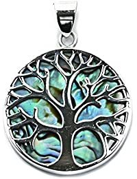 Solid Sterling Silver & Abalone Tree of Life Yggdrasill Pendant Pagan (P078)