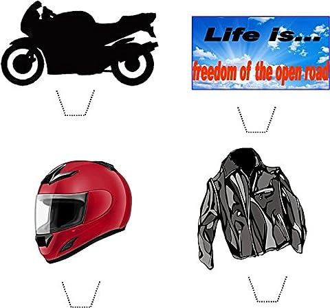 12 x Novelty Motorbike / Biker Mix Edible Standup Wafer Paper Cake Toppers
