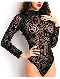 Unbekannt - Body - Brassière - Uni - Manches Longues - Femme