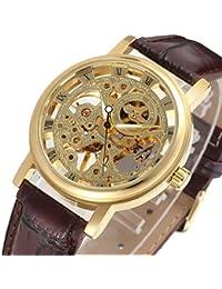 GuTe Dress Golden Ladies Steampunk Mechanical Wristwatch Skeleton Hand-wind Dark Brown Strap