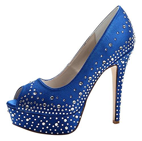 ZHENGXF Chaussure de mariage femme Escarpin sexy Chaussure de talon Bleu