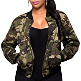 semen Damen Army Jacke Camouflage Military Rundhals Reißverschluss Tunika Militär Grün Wasserdicht Outwear Coat Tops S