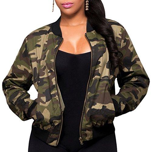 semen Damen Army Jacke Camouflage Military Rundhals Reißverschluss Tunika Militär Grün Wasserdicht Outwear Coat Tops M