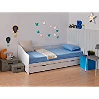 WestWood Single 3ft Day Bed White Frame with Trundle Guest Solid Wood Daybed Underbed No Mattress New