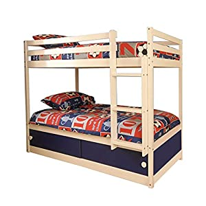 Comfy Living Slide Storage White Wooden Bunk Bed with Blue Sliding Doors