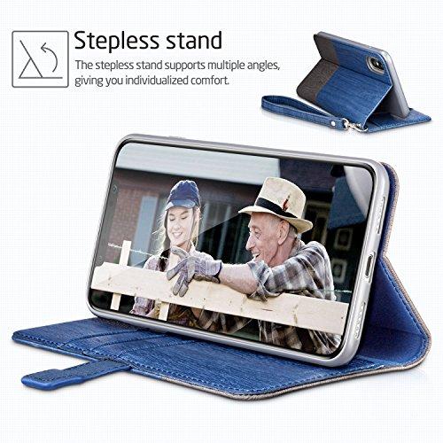 ESR iPhone X Hülle [Kabelloses Aufladen Unterstützung], Premium PU Leder Klapphülle mit Kartenfach, Vorne und Hinten Schutzhülle für Apple iPhone X / iPhone 10 5.8 Zoll 2017 Freigegeben. (Blau & Grau) Blau & Grau