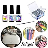 Joligel Kit Manicura Casero con Lámpara UV LED Mini para Shellac Esmaltes Gel Semipermanentes de Uñas, Top Coat Brillo Sin Residuo + Mate Top Coat + Base Coat + 200 Bolsitas Quitaesmaltes + Limas Pulidores + Pincel para Gel y Brillo + 20 Separadores de Dedos para Pedicura