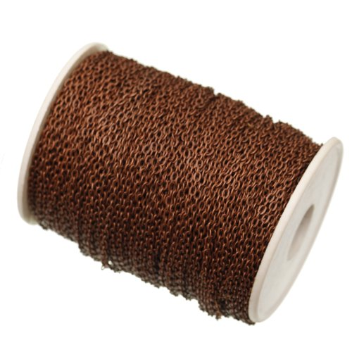 ILOVEDIY 5 Meter Antik Kupfer Metallkette Gliederkette Kabelkette Link Kette zum Basteln Schmuckherstellung 3x2mm (Antik Kupfer, 5m)