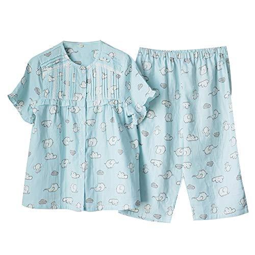 Mmllse Elefante Dulce De Manga Corta Pijama De Algodón Femenino Verano Cuello Redondo Servicio A Domicilio Traje Fino Suelta 2 Sets XL Azul