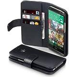 Terrapin Echt Leder Brieftasche Case Hülle mit Kartenfächer und Bargeld für HTC One (M8) 2014 Schwarz