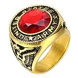 ZNKVJ Herren Titan Stahl Rotes Edelstein Auge von Horus Ringe,Größe 59 (18.8)