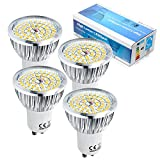 6W Gu10 LED Strahler 48 SMD 2835 LED Strahler 480-550LM LED Leuchtmittel 120° warmweiss 230V (4er Pack)