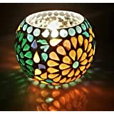 Merarki Handcrafted Votive Tea Light Candle Holders With Mosaic Style For Home Decoration I Diwali Deep Pack Of One