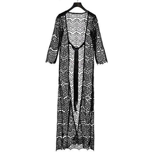 Clode® Femme imprimé floral à manches longues crème solaire lacet Long Beach Bikini Noir