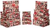 Brandsseller Geschenkbox Aufbewahrungsbox Kartenkarton mit Deckel - Stabiler Karton mit Stickherzen - 10er Set in absteigender Größe - Bunt Stickherzen