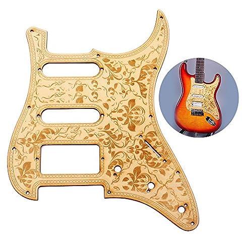 ammoon Gitarre Pickguard Ahorn Holz Hölzerne mit dekorativen Blumenmuster für Fender ST E-Gitarren
