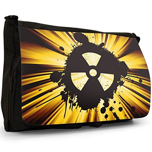 Radio Active, motivo: simbolo di pericolo nucleare, colore: nero, Borsa Messenger-Borsa a tracolla in tela, borsa per Laptop, scuola Nero (giallo)
